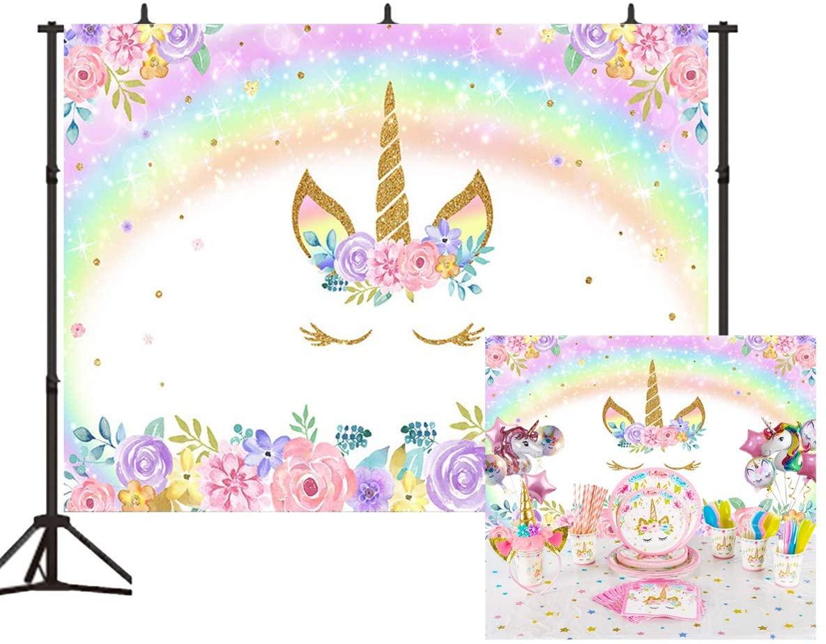 Unicorn Flower Rainbow Backdrop Rainbow Floral Smiling Face Unicorn Birthday Theme Photography Background 7x5ft Baby Newborn Birthday Decorations Party Studio Props BT029