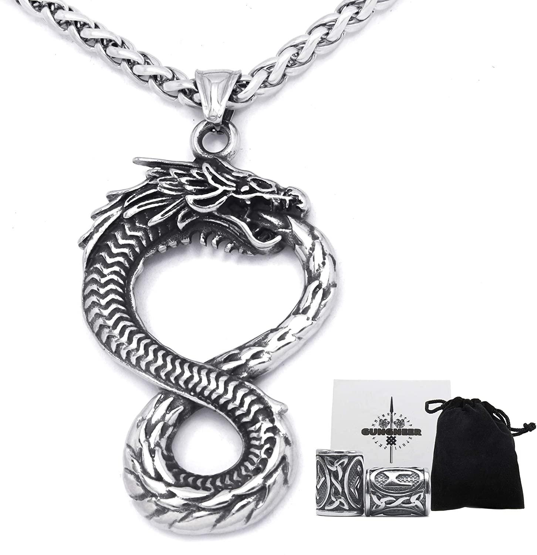 Gungneer Norse Viking Dragon Pendant Stainless Steel Keel Chain Necklace Intertwining Pattern Asatru Pagan Jewel