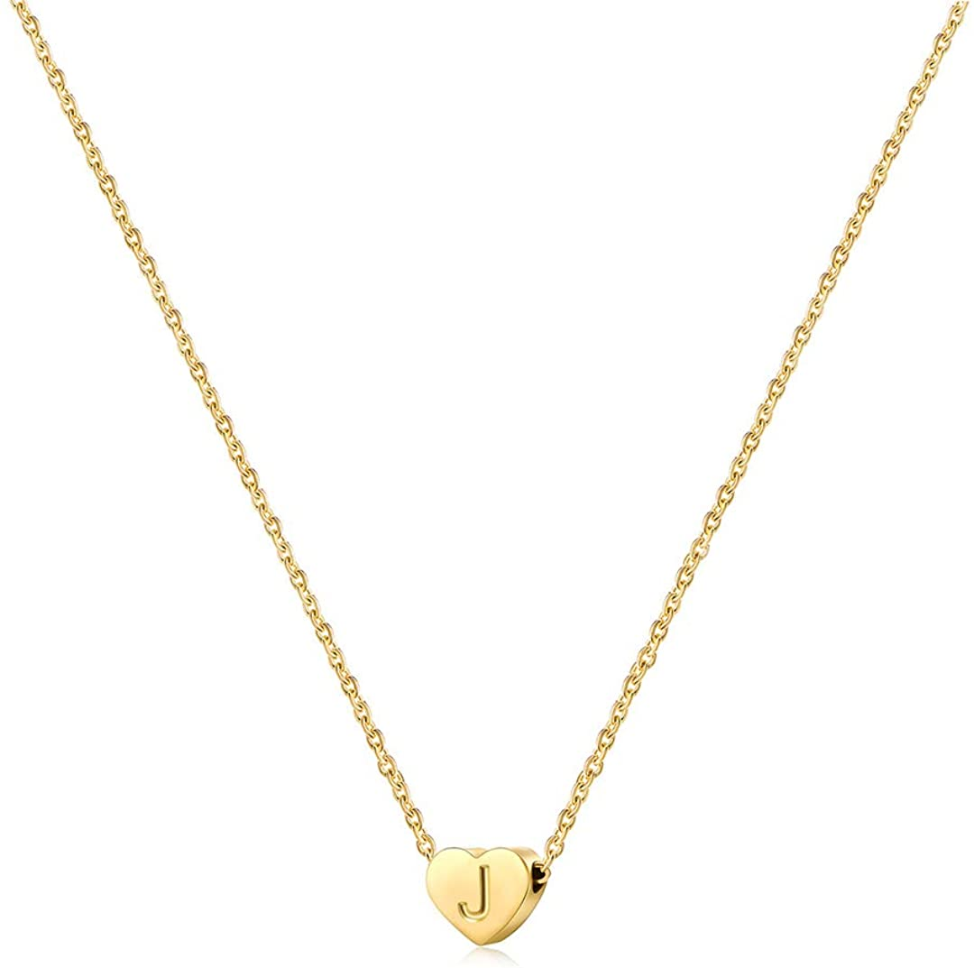 Joycuff Tiny Initial Necklaces for Women Teen Girls Cute Letter Heart Pendant 14K Gold Monogram Dainty Jewelry Birthday for Her Alphabet A-Z
