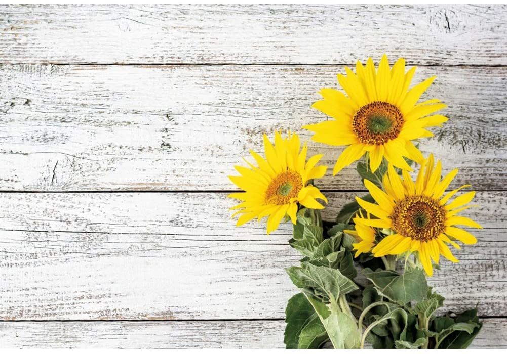 DORCEV 7x5ft White Rustic Wood Wall Backdrop for Birthday Party Baby Shower Photography Background Rural Wooden Board Floor Sunflowers Bridal Shower Party Portraits Photo Studio Props