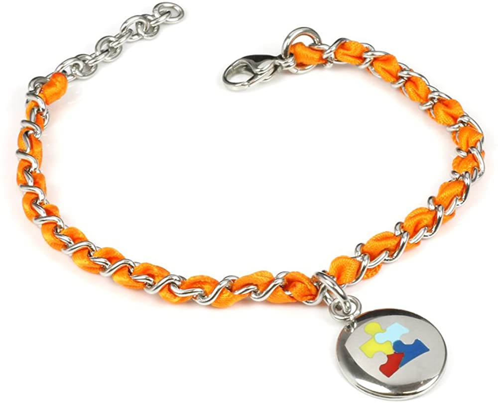 My Identity Doctor Custom Engraved Autism Awareness Bracelet - Silk Woven 316L Steel