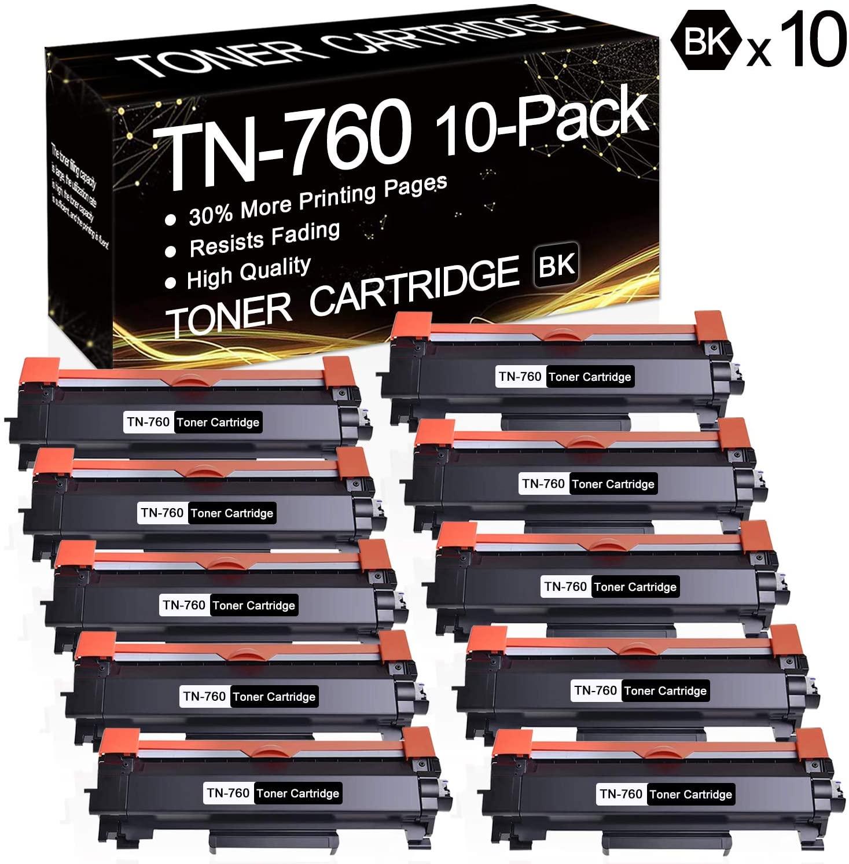 10 Pack TN-760 Black TN760 Toner Compatible Toner Cartridge Replacement for Brother MFC-L2710DW MFC-L2750DW MFC-L2750DWXL HL-L2350DW HL-L2370DW HL-L2370DWXL HL-L2390DW HL-L2395DW DCP-L2550DW Printers.