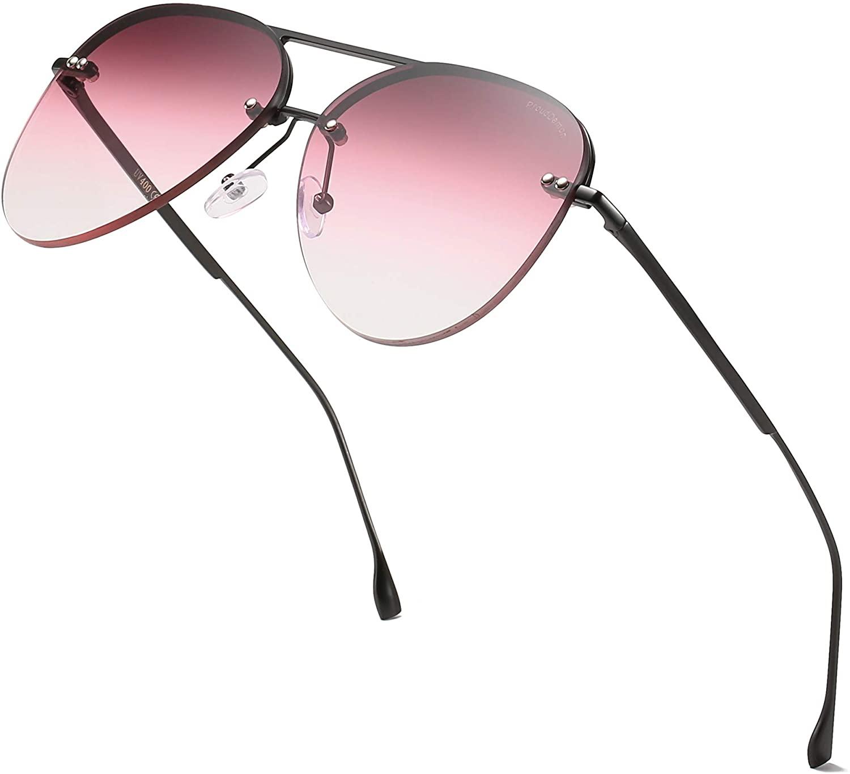 ProudDemon Men/Women's Aviator Sunglasses Rimless UV400 Protection Gradient Lens Sun Glasses