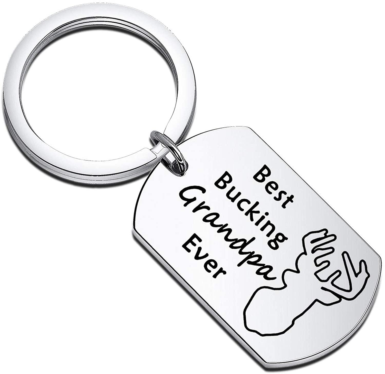 HOLLP Grandpa Jewelry Best Bucking Grandpa Ever Grandfather Keychain Buck Keychain Dog Tag Key Ring