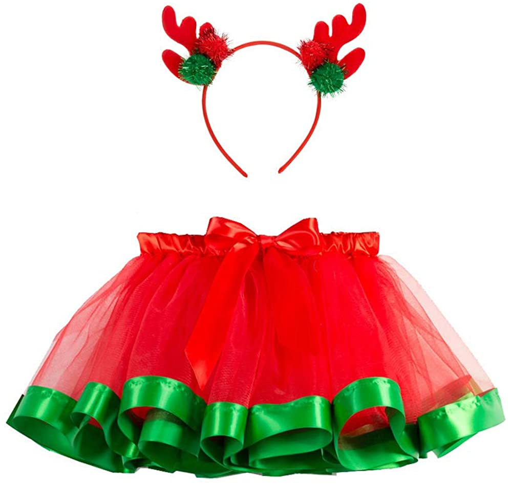 SUNTRADE Christmas Tutu Skirt Red Layered Ballet Tulle Christmas Party with Headband