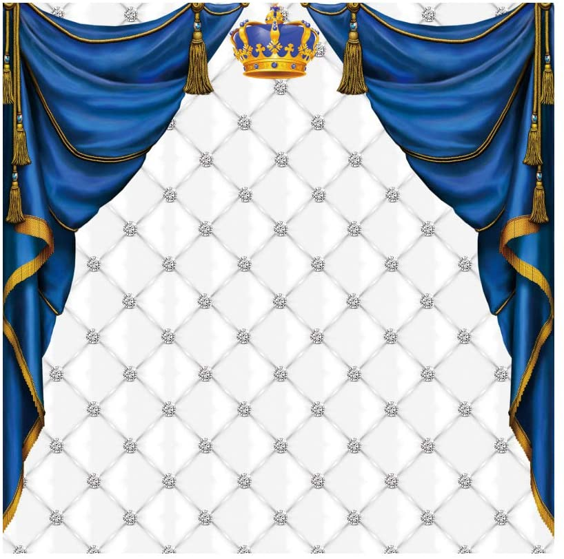 DORCEV 5x5ft Royal Prince Baby Shower Party Photography Backdrop Golden Crown Blue Curtain Background Boy's Birthday Party Cake Table Banner Photo Studio Props Vinyl Wallpaper