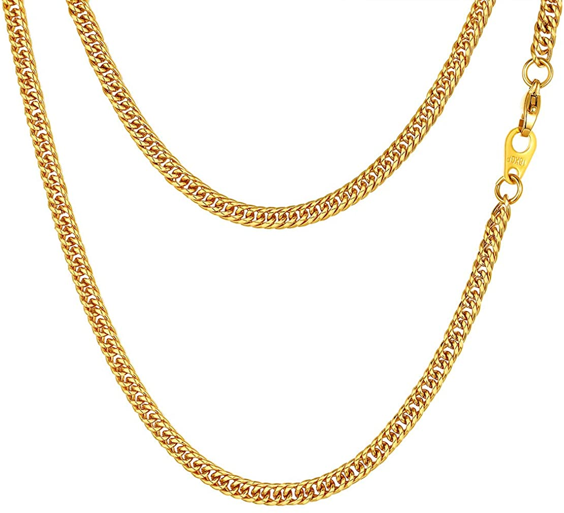 FindChic Men Curb Chain Necklace 18K Gold Plated/Stainless Steel/Black Chunky Double Tight Cuban Link Hip Hop Neck Chains for Men Boys 3.5MM/5MM/6MM/7MM/9MM/12MM 14''-30'' 8 Length Options (Send Gift Box)