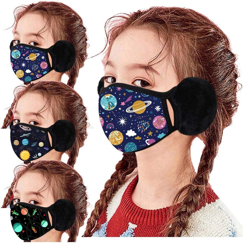 3PC Kids Winter Bandanas - Childrens Washable Windproof Warm Earmuffs - Snow Face Ear Warmer Balaclava for Boys & Girls (3PC multicolored)