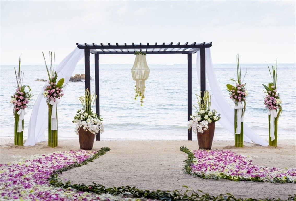 AOFOTO 7x5ft Wedding Ceremony Backdrop Romantic Beach Archway Curtain Photography Background Girlfriend Bride Lover Fiancee Portrait Seaside Nuptial Decoration Photo Studio Props Vinyl Wallpaper