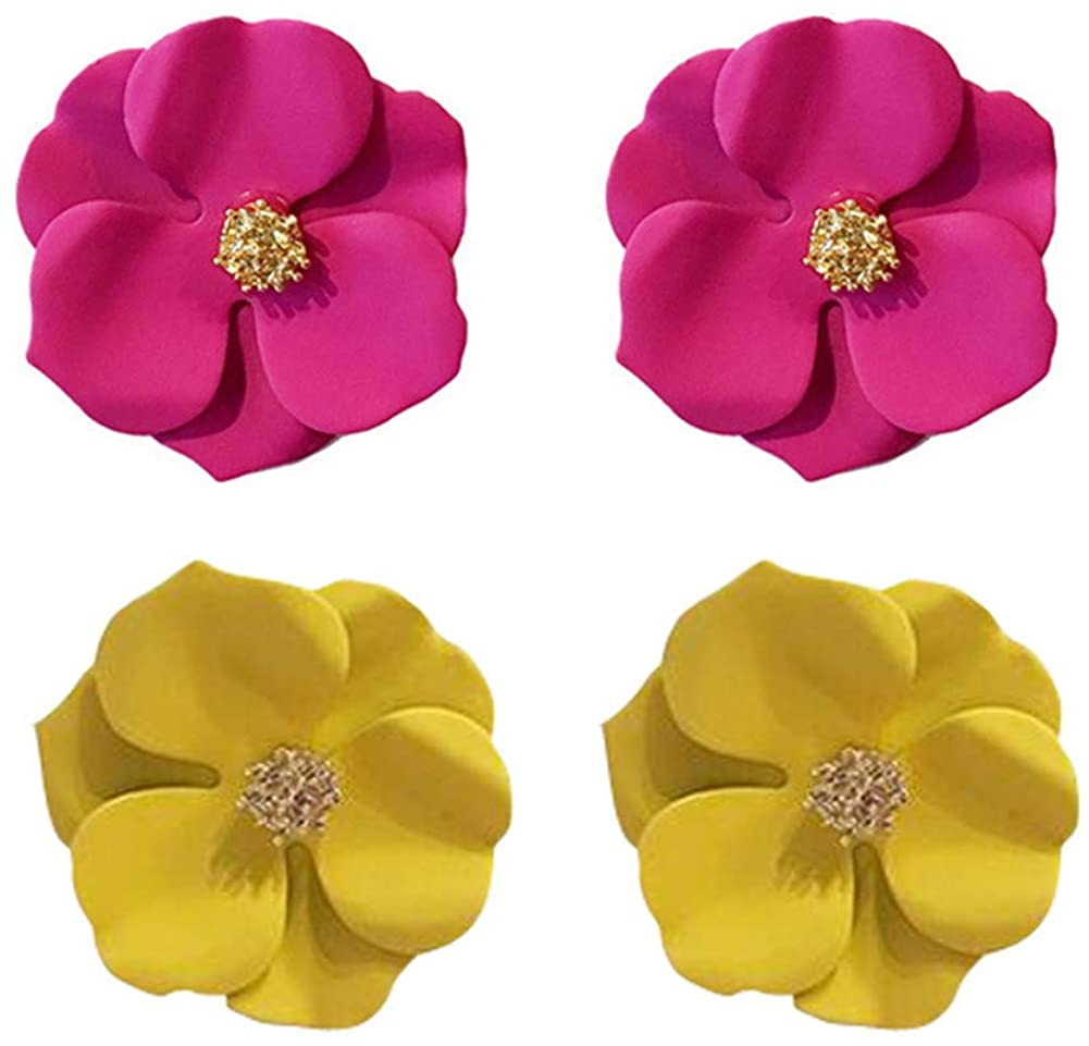 GIMEFIVE 2 Pairs Chic Boho Matte Flower Statement Stud Earrings Set with Gold Flower Bud for Women Sister Mom Lover and Friends Jewellery
