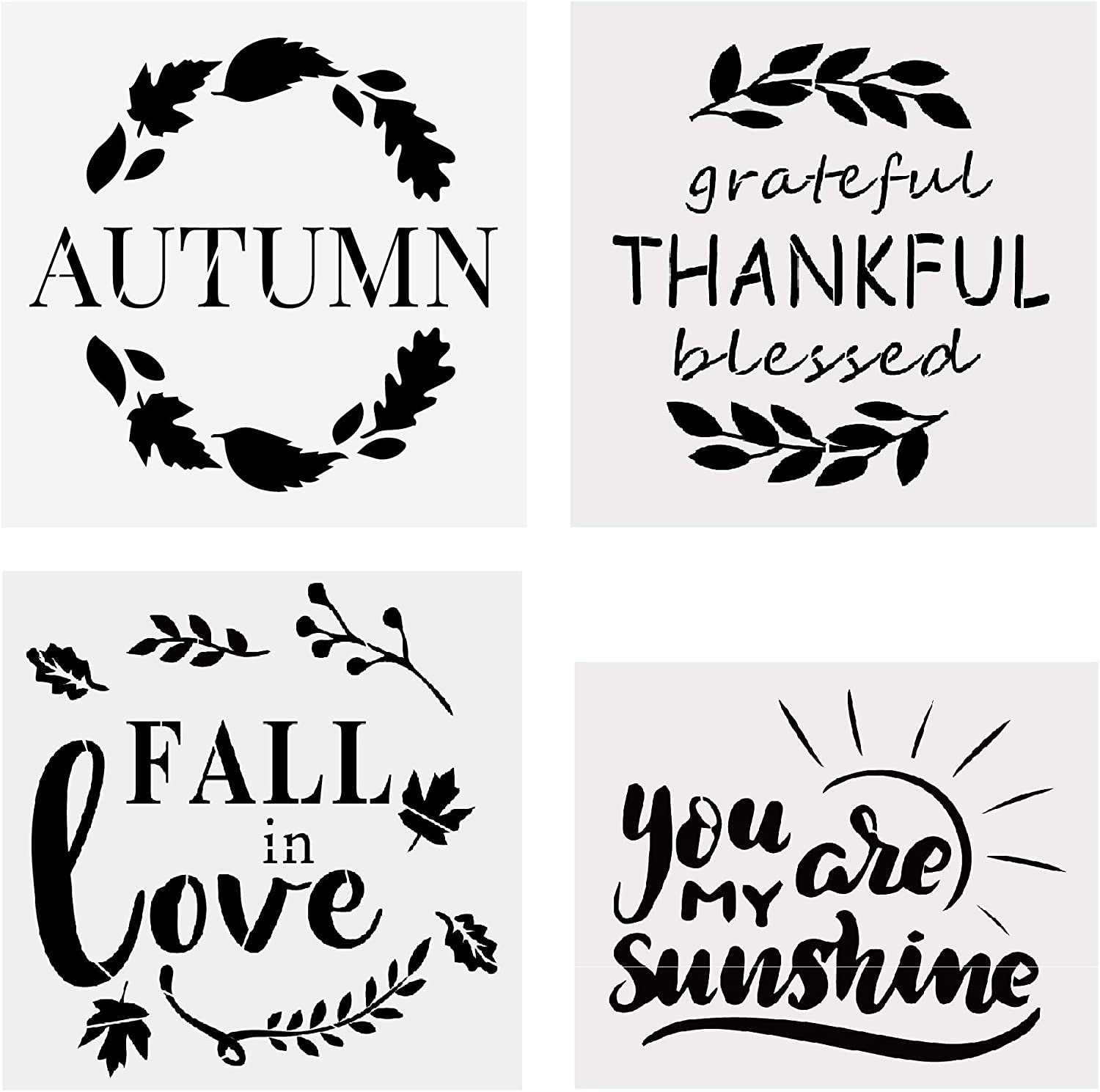 4 Pcs Autumn Fall in Love Thanksgiving You are My Sunshine Stencils for Painting on The Wood, Wall, Paint Autumn Wood Sign Stencil for Front Door, Perfect Fall Decor for Your Home