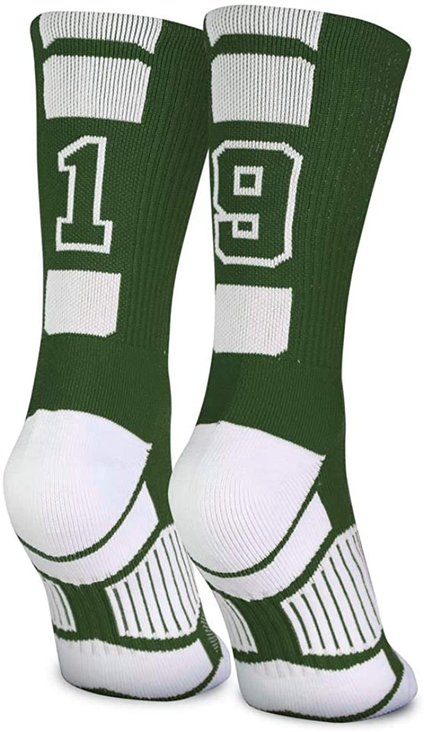 Custom Team Number Crew Socks | Athletic Socks by ChalkTalkSPORTS | Green | Choose Your Number