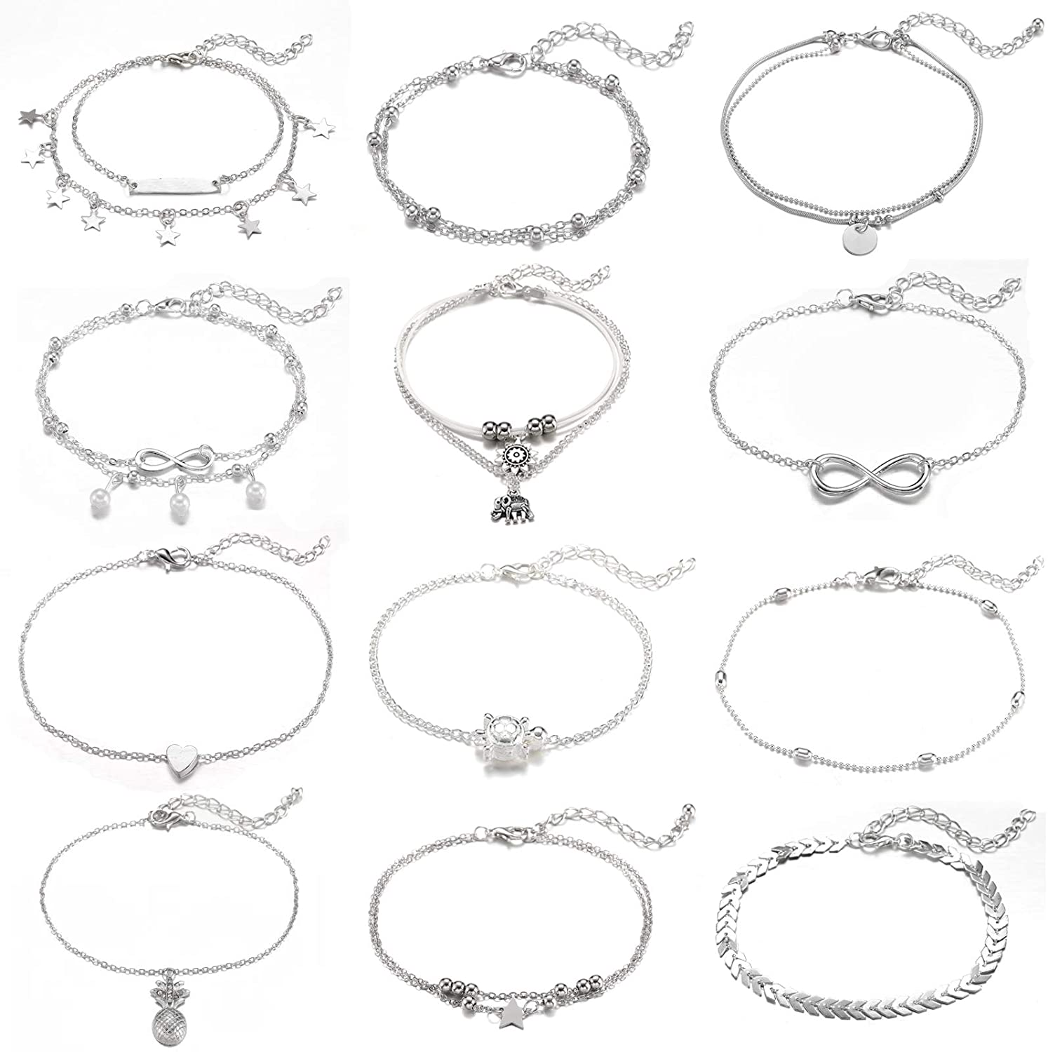 Starain 12 Pieces Cute Ankle Bracelets Women Girls Adjustable Heart Elephant Layered Anklets Set Gold Silver Beach Foot Jewelry