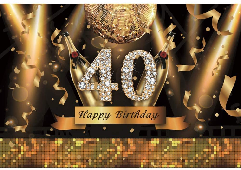Haoyiyi 5x3ft 40 Birthday Backdrops for Photography Gold Golden Bling Bling Diamonds Sparkling Glamour Shiny Shining Sequin Background Photo Party Decor Banner Wallpaper Pictures Portraits