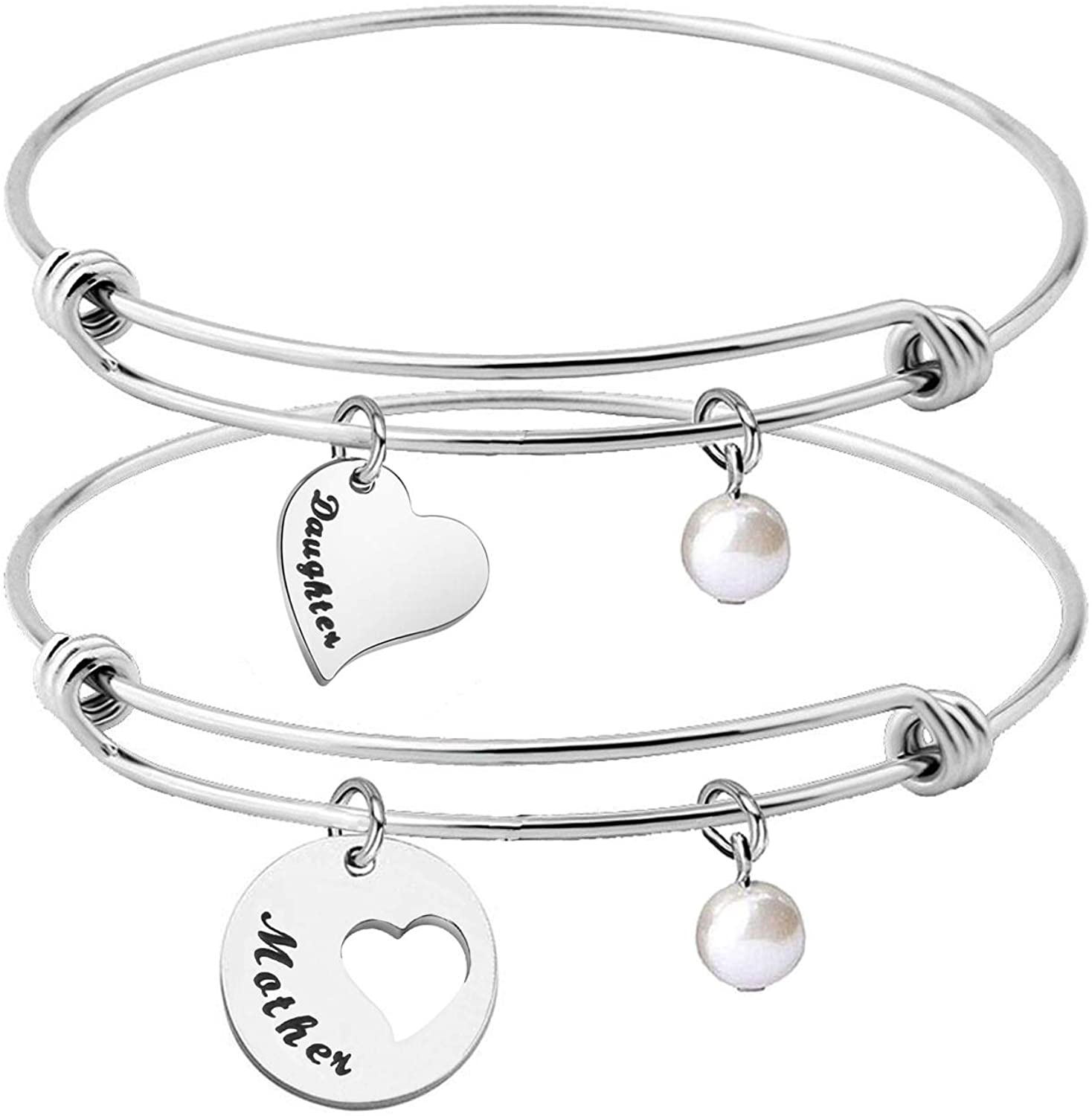 CHOORO Mother Daughter Heart Cutout Bracelet Set of 2/3/4 Mom and Me Jewelry