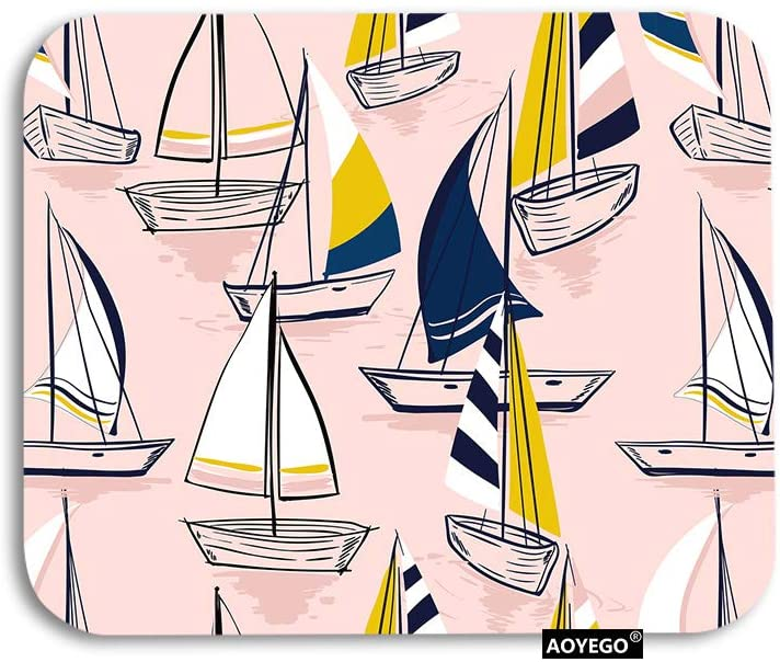 AOYEGO Ship Mouse Pad Pink Sketch Sailing Sea Boats Nautical Ocean Water Gaming Mousepad Rubber Large Pad Non-Slip for Computer Laptop Office Work Desk 9.5x7.9 Inch