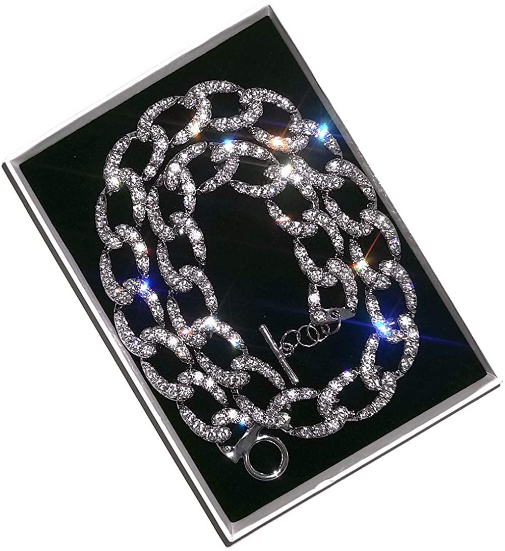LecAit Cuban Link Chain for Men,Mens 182420MM Iced Out Hip Hop Silver Tone CZ Miami Cuban Link Chain Choker Necklace for Women