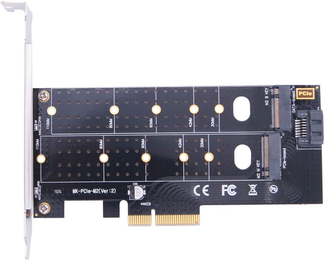 M.2 NVME & M.2 NGFF to PCIe 3.0 x4 Adapter, M.2 NVME & M.2 NGFF SSD to PCI-e 3.0 x 4 Host Controller Expansion Card, Supports 2280, 2260, 2242, 2230 Solid State Drives