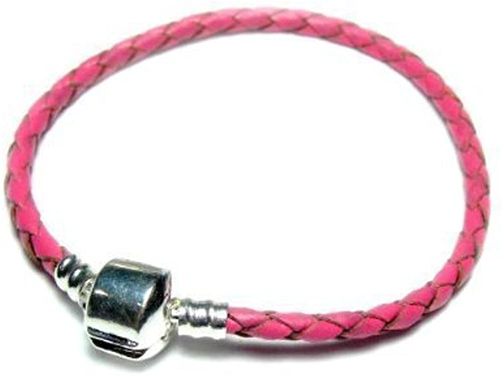 Sexy Sparkles Genuine Real Braided Leather Bracelet (Choose Pink, Black, Champagne or Brown and Choose Your Size)