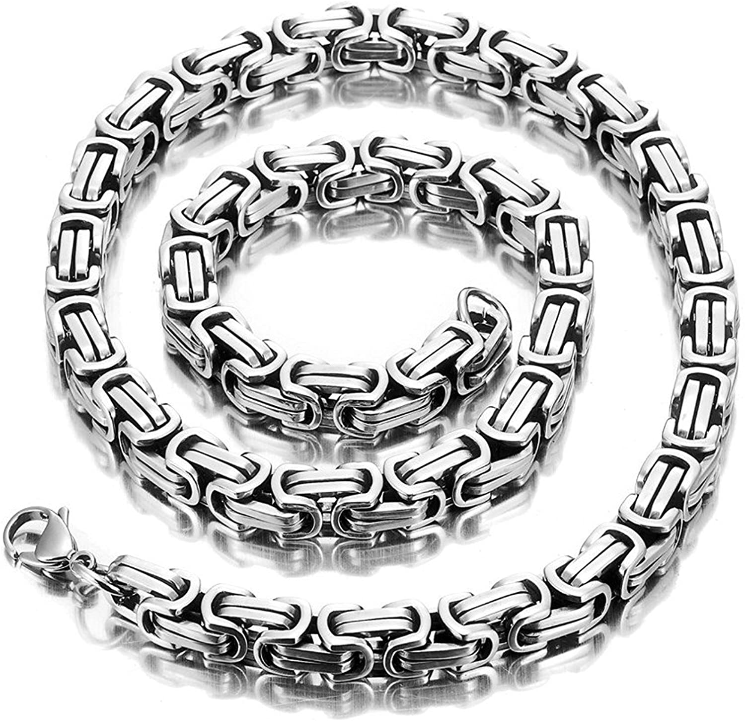 URBAN JEWELRY Impressive Mechanic Style Men's Necklace Stainless Steel Silver Chain, Width 6mm (19,21,23 Inches)