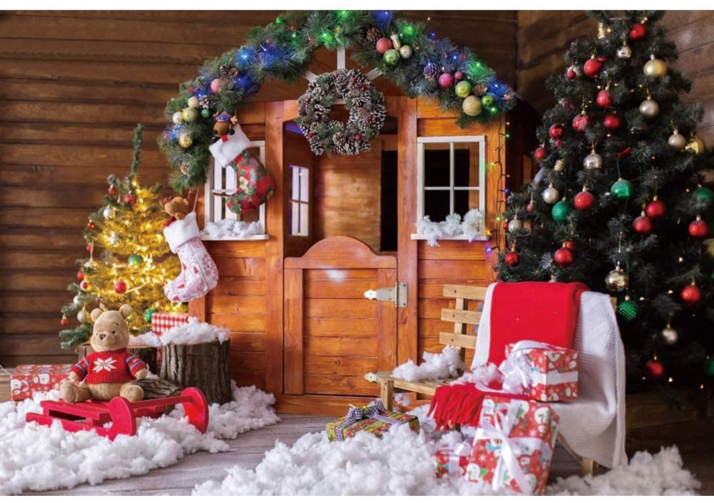 DaShan 10x6.5ft Winter Snow Rustic Christmas Backdrop Rustic Wood Wall Christmas Wreath Xmas Tree Snow New Year Eve Party Photography Background Family Christmas Cabin Home Party YouTube Photo Props