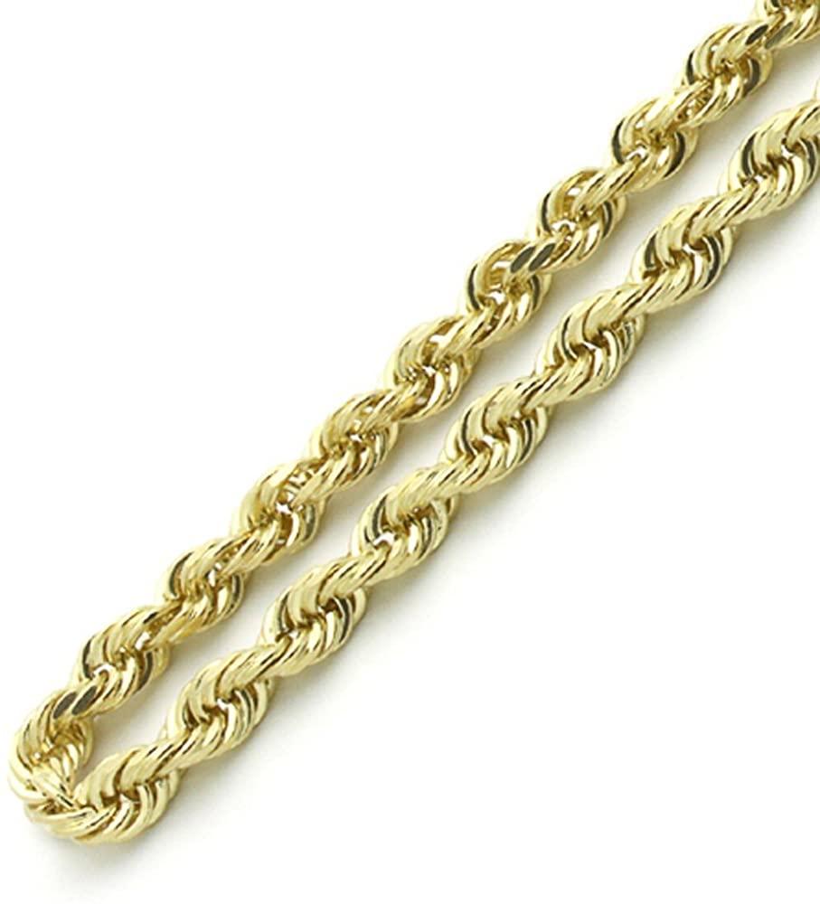 10K Gold 1.5MM, 2MM, 2.5MM, 3MM, 3.5MM, 4MM, 5MM, or 7MM Diamond Cut Rope Chain Necklace, Bracelet, Anklet Unisex Sizes 7