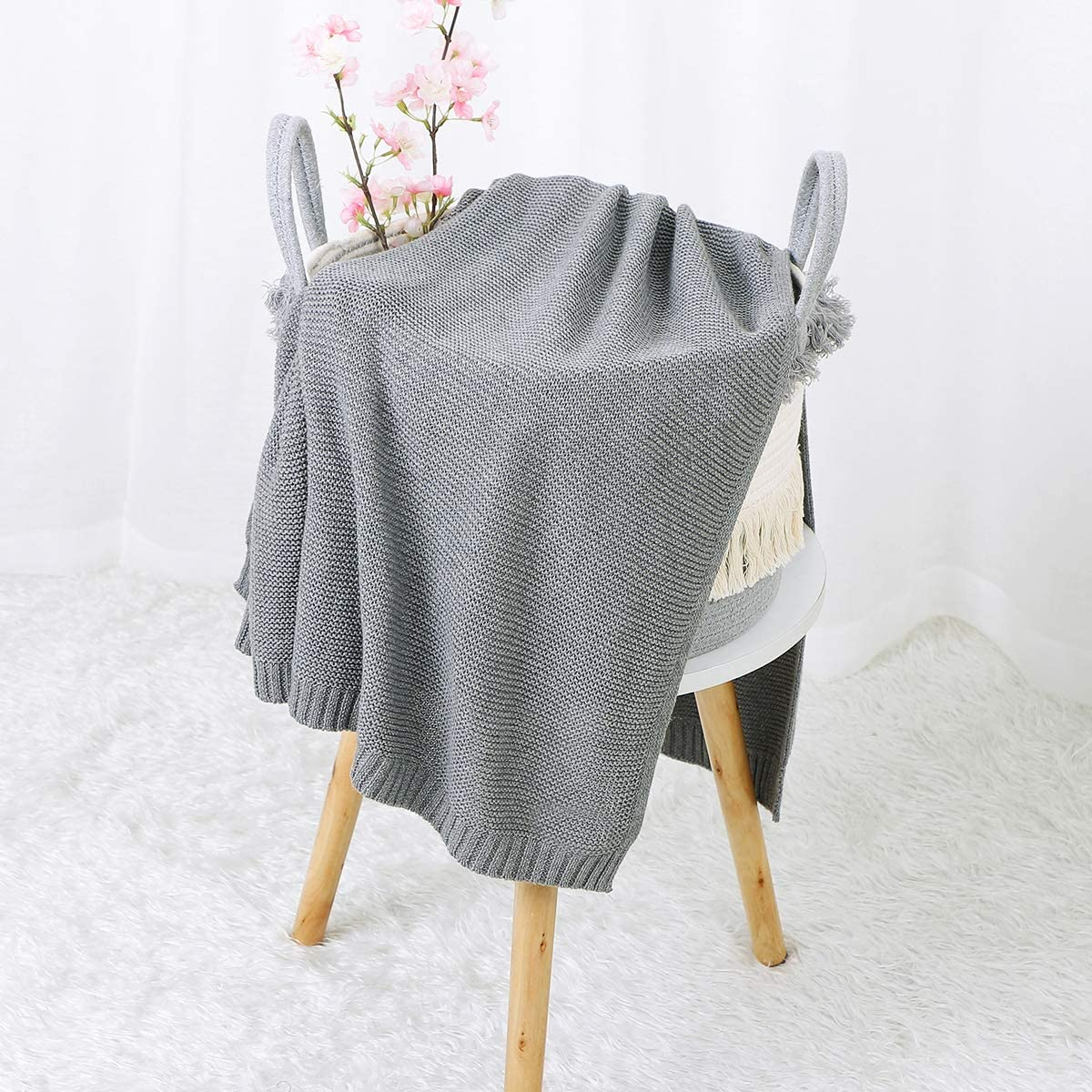 Hadetoto Baby Blanket 100% Cotton Knit Toddler Blankets Boys Girls Soft Knit Blankets Size 30 x 40 inches Grey