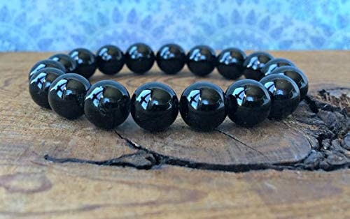 Rock Gift 10mm Stretchable Black Black Tourmaline Bracelet Round, Smooth 7