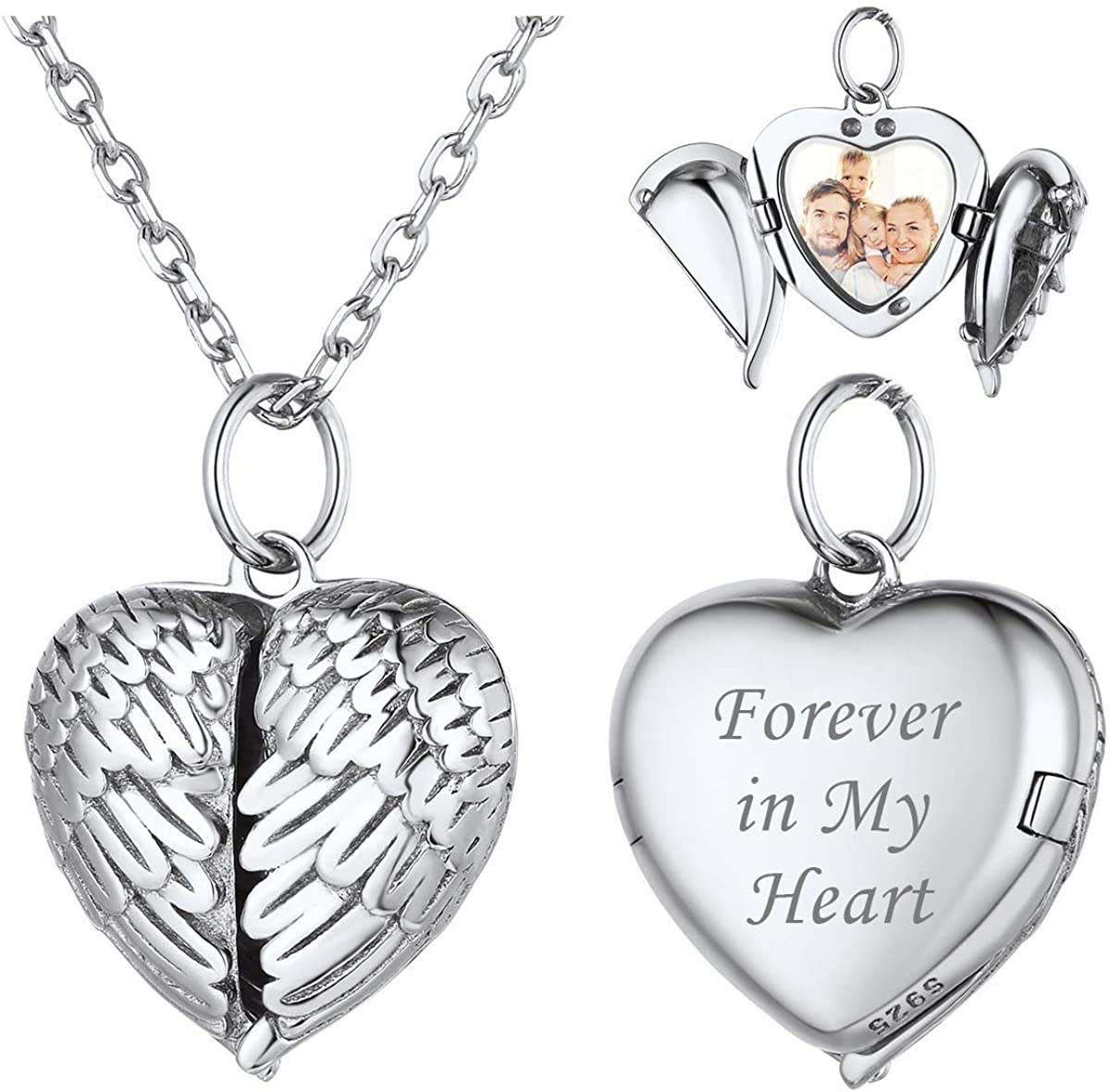 ChicSilver Personalized Heart Locket Necklace 925 Sterling Silver/18K Gold/Rose Gold Plated Guardian Angel Custom Photo Necklace Customized Picture Jewelry Gift for Women Men(with Gift Box)