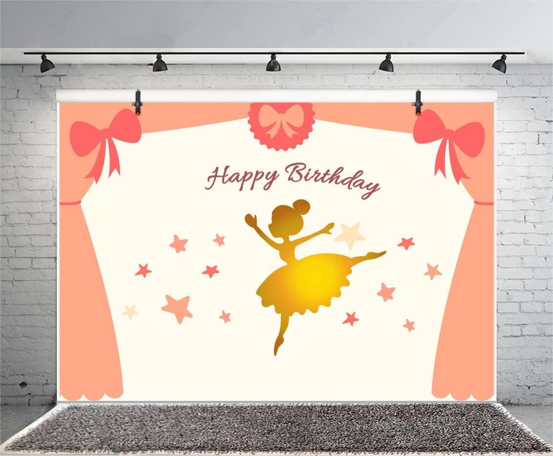 Leyiyi 6x4ft Photography Backdrop Happy Birthday Background Ballet Dancer Golden Dress Stage Performance Curtain Stars Wallpaper Girls Slefie Baby Shower Banner Photo Portrait Vinyl Studio Video Prop