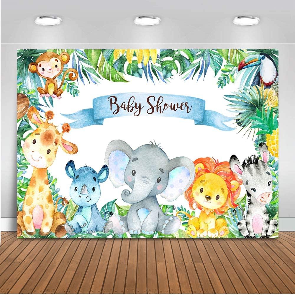Mocsicka Safari Animals Baby Shower Backdrop, Jungle Safari Baby Party Decoration, Vinyl Tropical Safari Baby Shower Banner Supplies (7x5ft)