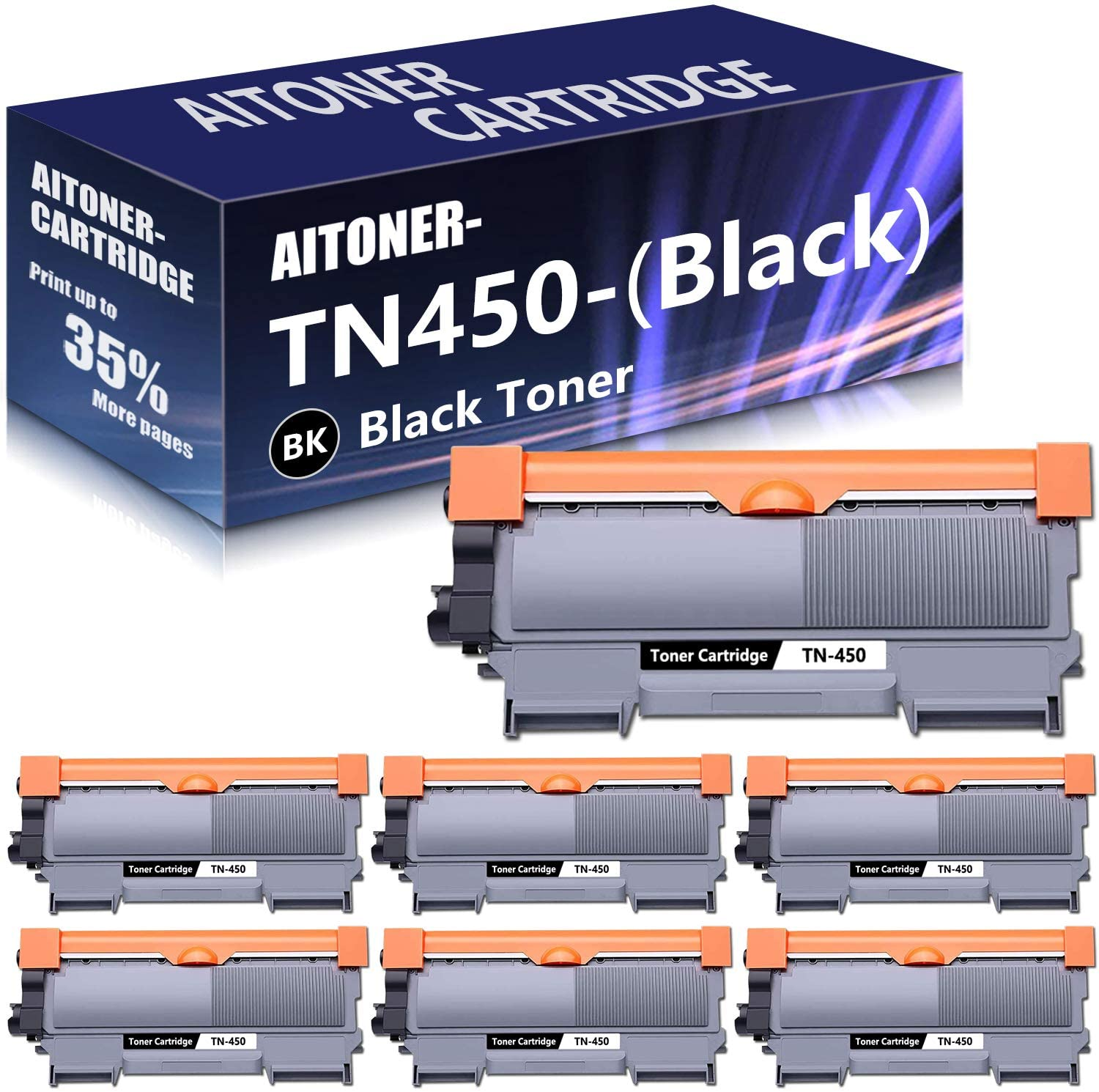 7 Pack (Black) TN450 High Yield Toner Replacement for Brother DCP 7060D DCP 7065D HL 2130 HL 2132 HL 2275DW HL 2220 HL 2230 HL 2240 HL 2240D MFC 7240 MFC 7360N MFC 7860DW Intellifax 2940 Printers.