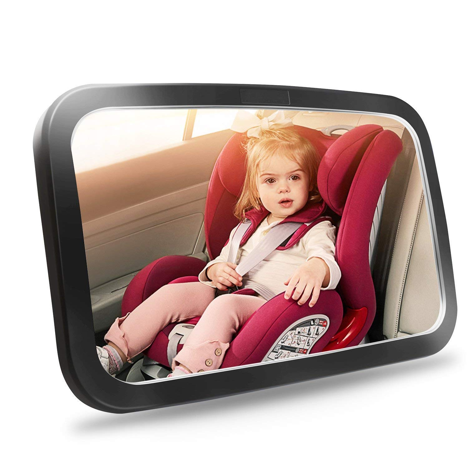 Baby Car Mirror, Safety Car Seat Mirror for Rear Facing Infant with Wide Crystal Clear View, Shatterproof, Fully Assembled, Cr