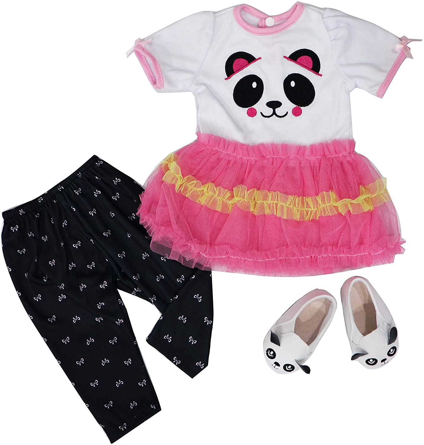 Charm Baby Reborn Baby Dolls Clothes for 22-24 inch Panda Outfit Accessories 4 Piece Handmade Doll Clothes fit for Toddler Girl Dolls Accessories Handmade Embroidered Panda face Patent Shoes!