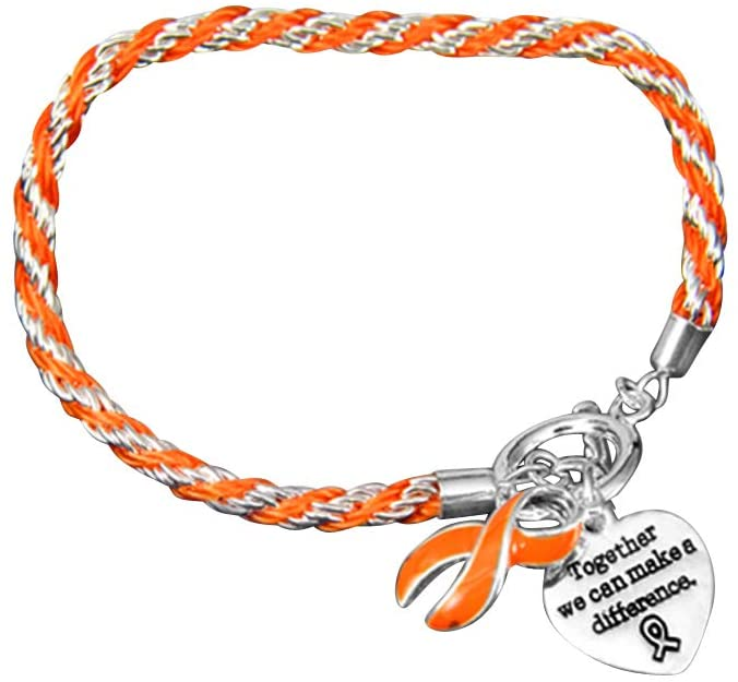 Leukemia Awareness Heart & Ribbon Charms on a Rope Bracelet in a Gift Box