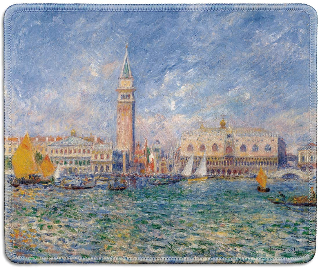 dealzEpic - Art Mousepad - Natural Rubber Mouse Pad with Famous Fine Art Painting of The Doges Palace, Venice by Pierre-Auguste Renoir - Stitched Edges - 9.5x7.9 inches