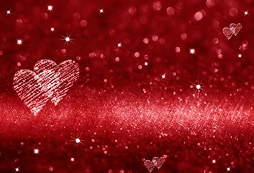 Laeacco 10x7ft Photography Background Red Hearts Bokeh Background Glittering Hearts Backdrops Motivational Love Portraits Shooting Video Studio Props Saint Valentine's Day