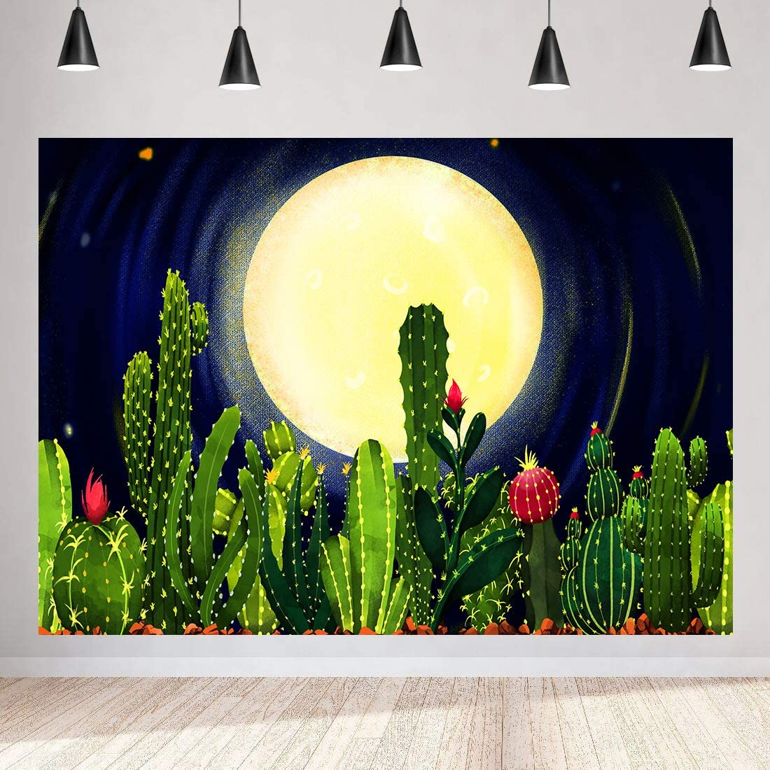 Desert Cactus Backdrop for Photography, 9x6ft / 2.7x1.8m, Night Moonlight Background, YouTube Photo Shooting Props BJLSST28