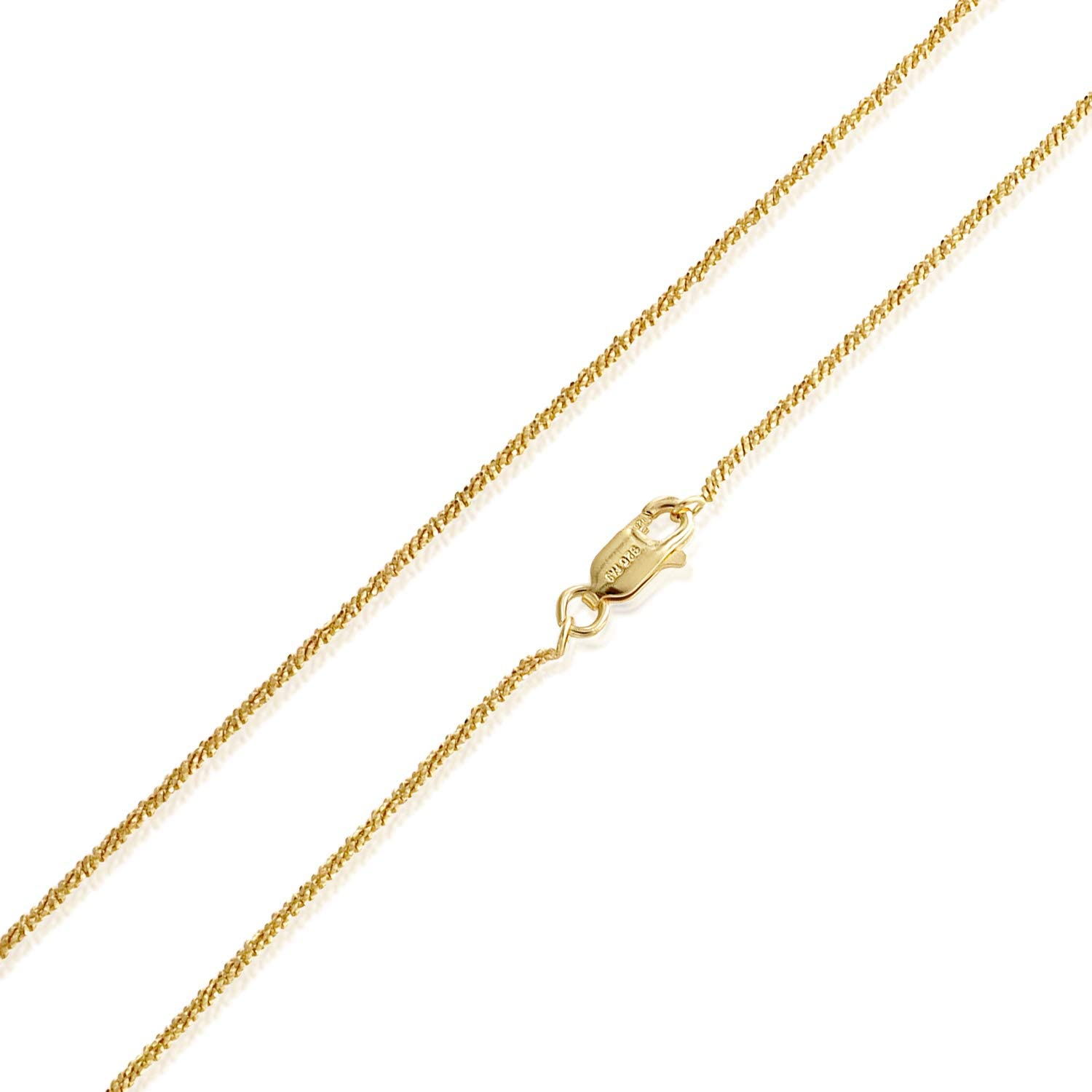 Sterling Silver 2mm Sparkle Rock Chain Necklace for Women, Size 14