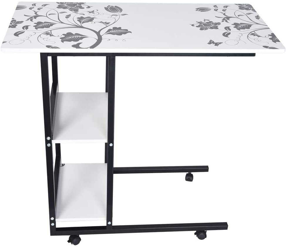 GFHFHITJ Simple Folding Lazy Laptop Table - Stylish Bedside Desktop Desk Home Mobile Computer Table - Couch Side Table (White)