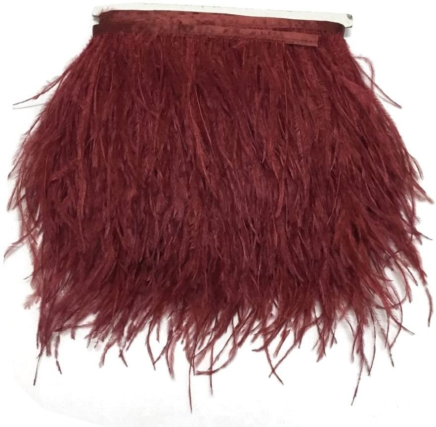 MELADY 5 Yards Fashion Dress Sewing Crafts Costumes Decoration Ostrich Feathers Trims Fringe with Satin Ribbon Tape (Burgundy)