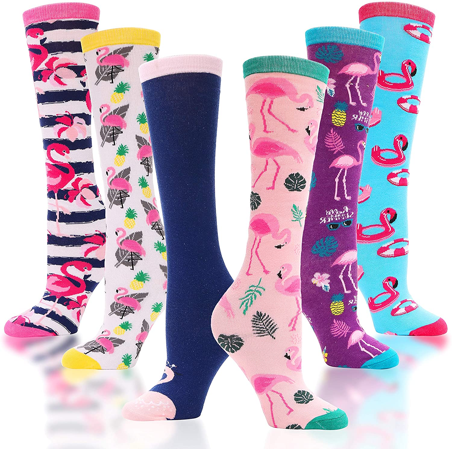 Girls Knee High Socks Cute Unicorn Pattern Novelty Funny Cotton Socks for Kids 6 Pairs