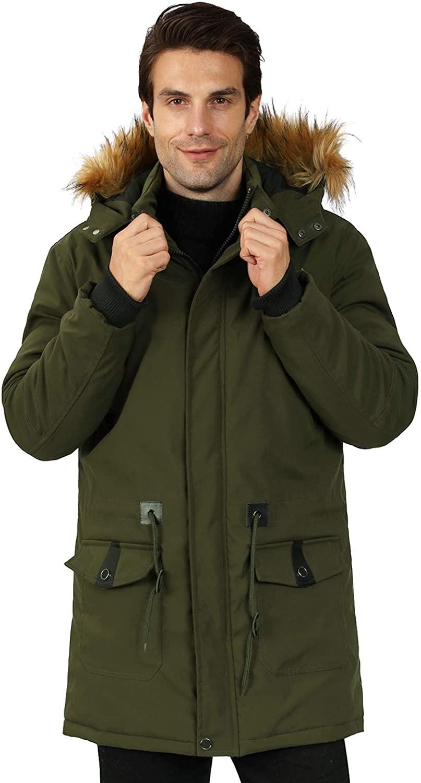 WULFUL Men's Warm Winter Coat Long Parka Anorak Jackets Thicken Padded with Detachable Fur Hood