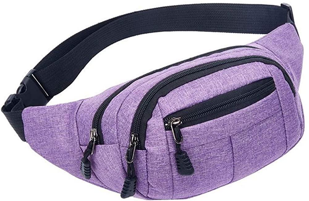 Canvas Zipper Waist Bag Fanny Pack Hip Bum Bag for Men Women Running Hiking Climbing