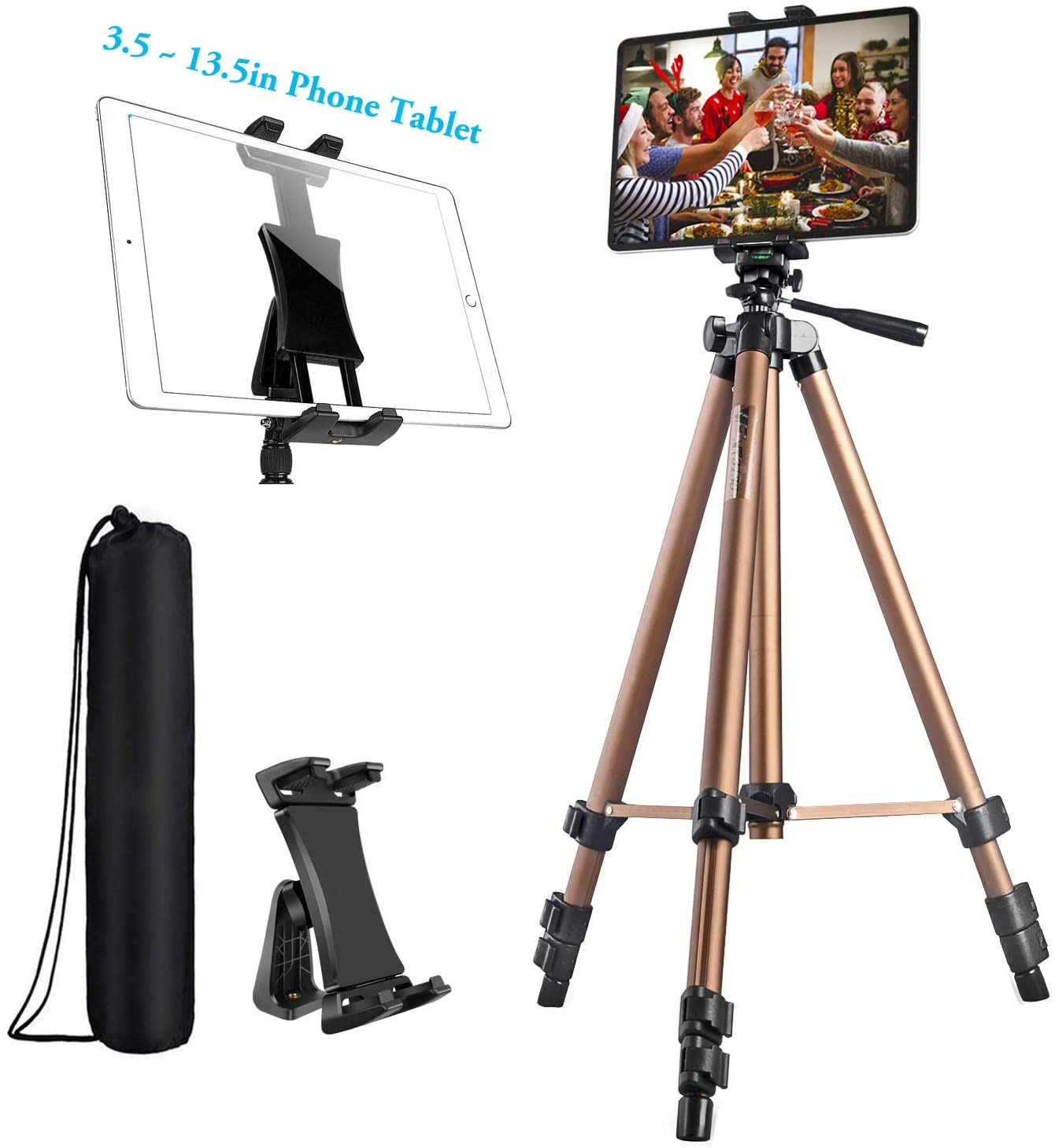 IPad Tripod, Tablet Tripod Stand 58 inch Adjustable Height Aluminum Mount Holder for iPad Pro 12.9 11 10.5, iPad Air, iPad Mini, Surface Pro,Nexus,Galaxy Tab and 3.5 to 13.5in Phone Tablet - Champagne