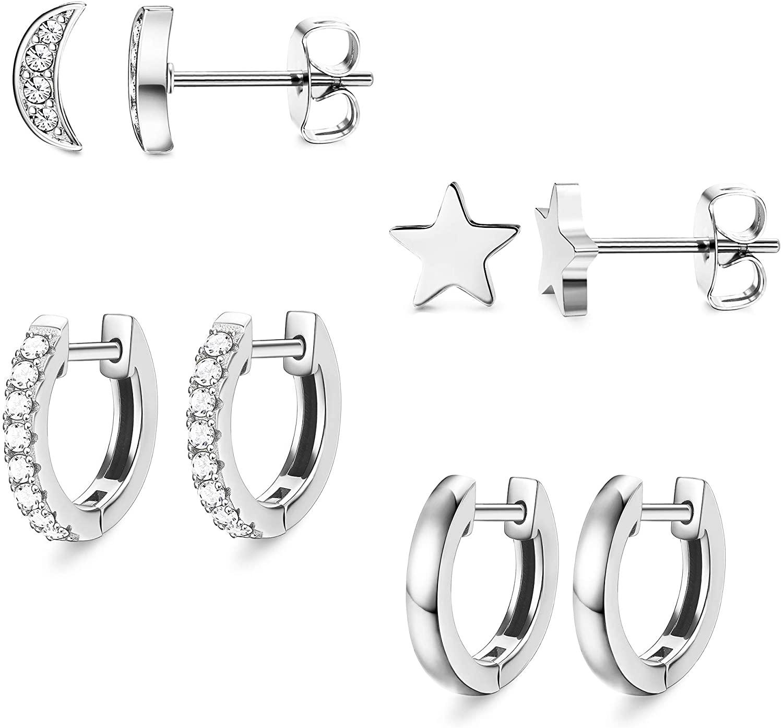 Sailimue Tiny Stud Earrings Set for Womens Moon and Star Earrings Stud inlaid CZ Cartilage Huggie Hoop Earrings Helix Ear Piercing Stainless Steel Minimalist Earrings Set