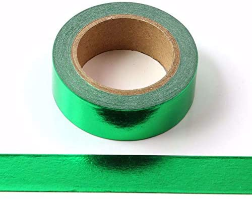 Solid Foil Washi Tape Decorative Self Adhesive Masking Tape 15mm x 10 Meters (Green)