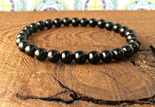 Super Sale 6mm Stretchable Black Black Tourmaline Bracelet Round, Smooth 7