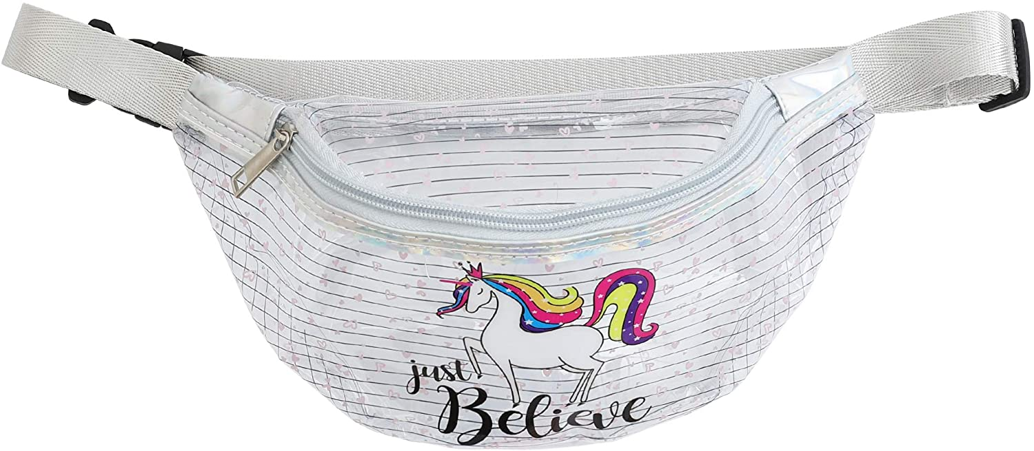 Clear Unicorn Fanny Waist Packs - Transparent Festival Phanny Bum Packs - Unicorn Just Believe