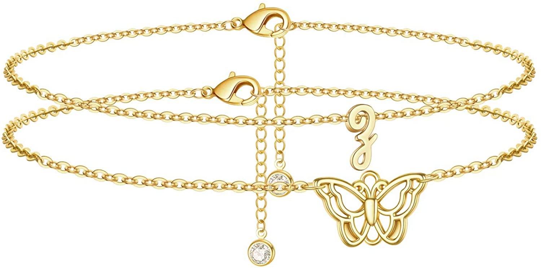 Turandoss Initial Butterfly Ankle Bracelets for Women, 14K Gold Filled Handmade Dainty Layered Butterfly Anklet Letter Initial Butterfly Ankle Bracelets for Women Girls Summer Beach Jewelry